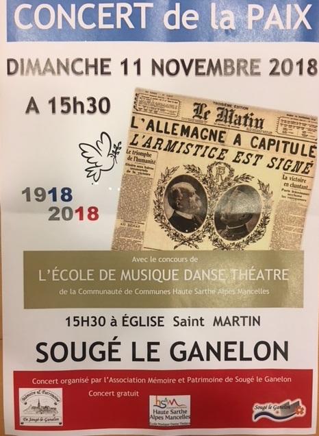 Concert de la Paix le 11 novembre 2018