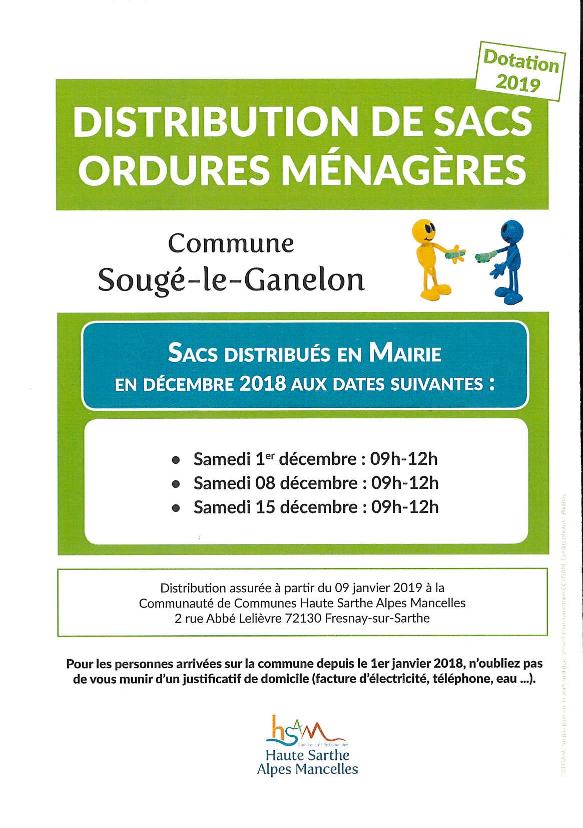 Distribution de sacs ordures ménagères-Dotation 2019