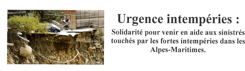 Solidarité intempéries Alpes-Maritimes