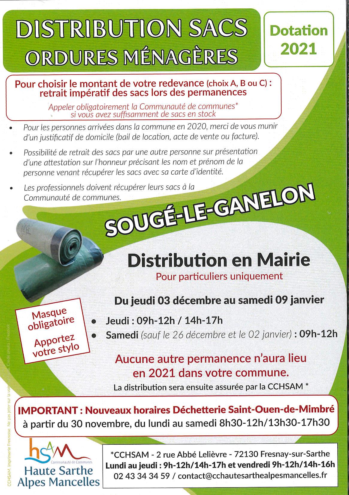 Distribution sacs ordures ménagères